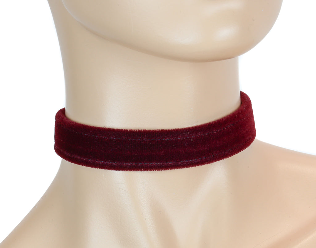 "Gothic Plain Burgundy Velvet Velour 3/4"" Wide Plain Choker"