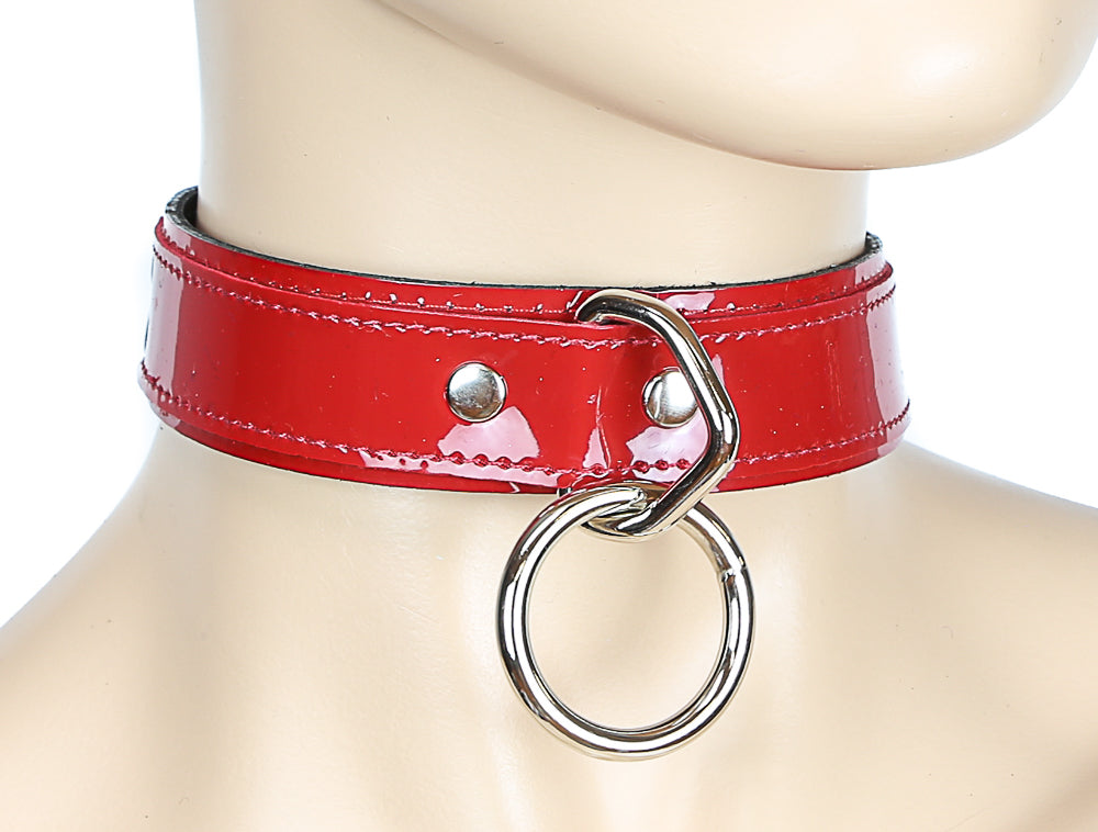 Fetish Silver O Ring Gothic Red PVC Choker Necklace
