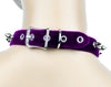 "Purple Velvet Choker Necklace with 1/2"" Silver Spikes Gothic Collar"
