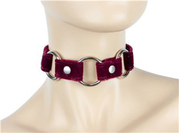 "Burgundy Velvet Choker With 3 Silver O-Rings Real Leather 3/4"" Wide"
