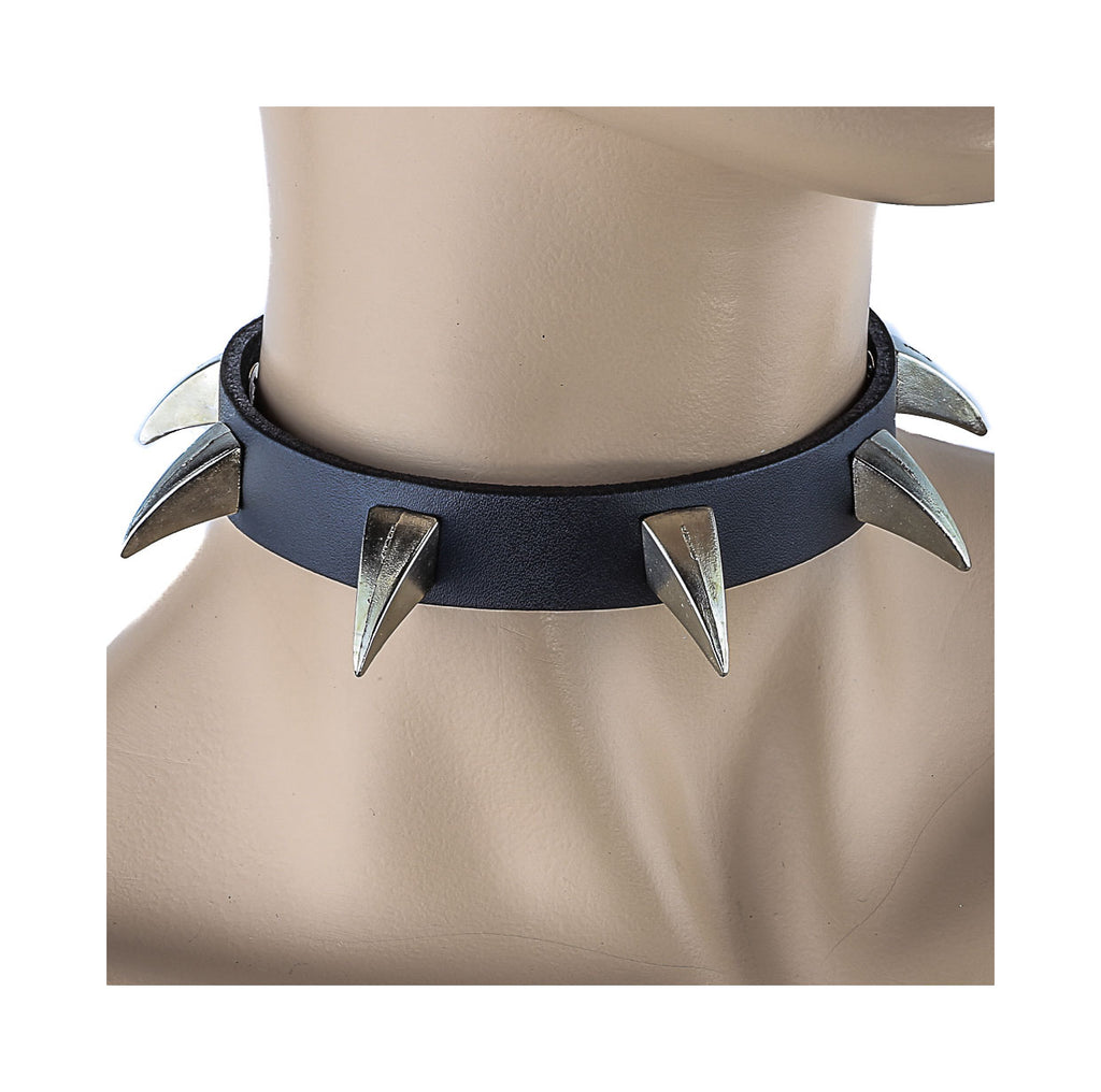 6 Silver Claw Black Leather Choker Gothic Necklace