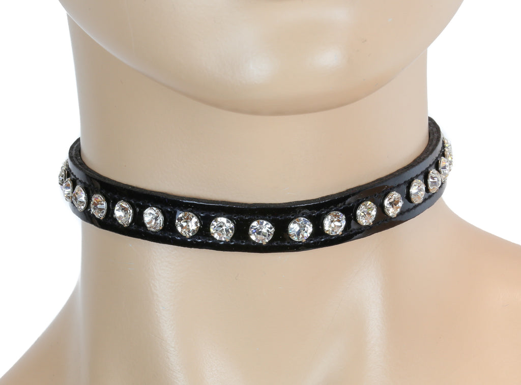 White / Clear Rhinestone on Black Patent Leather PVC Choker Collar Burlesque
