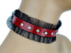 Rhinestone Red Leather Choker with Lace Trim Sexy Lolita Collar