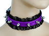 "1/2"" Spike Purple Leather Choker with Lace Trim Sexy Lolita Collar"