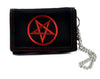 Red Pentagram Trifold Wallet with Chain - Black