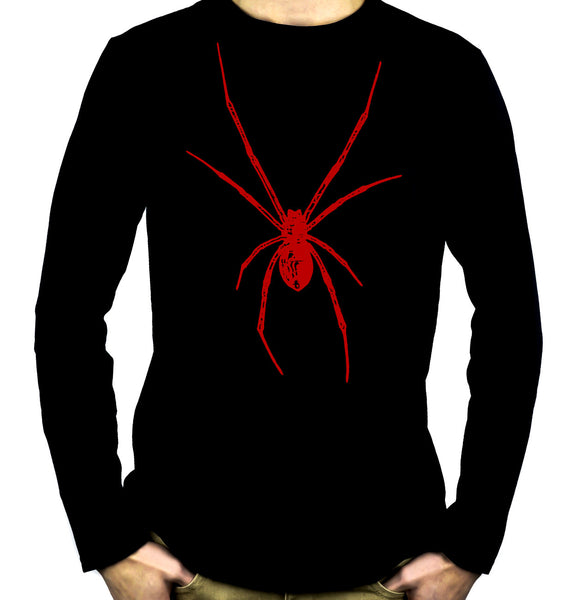 Red Print Black Widow Spider Long Sleeve Shirt Horror Wear