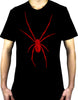 Black Widow Spider Red Print Men's T-shirt Halloween Horror Wear