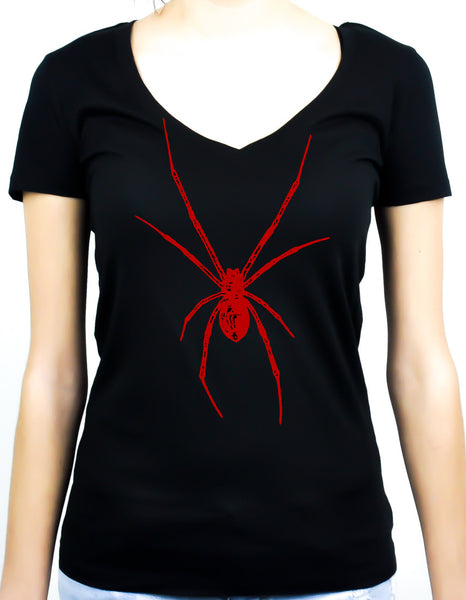 Red Print Black Widow Spider Women's V-neck Shirt