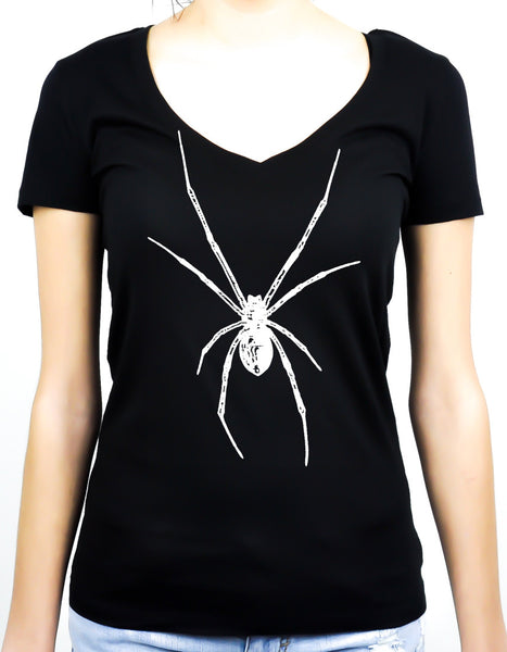 White Print Black Widow Spider Women's V-neck Shirt