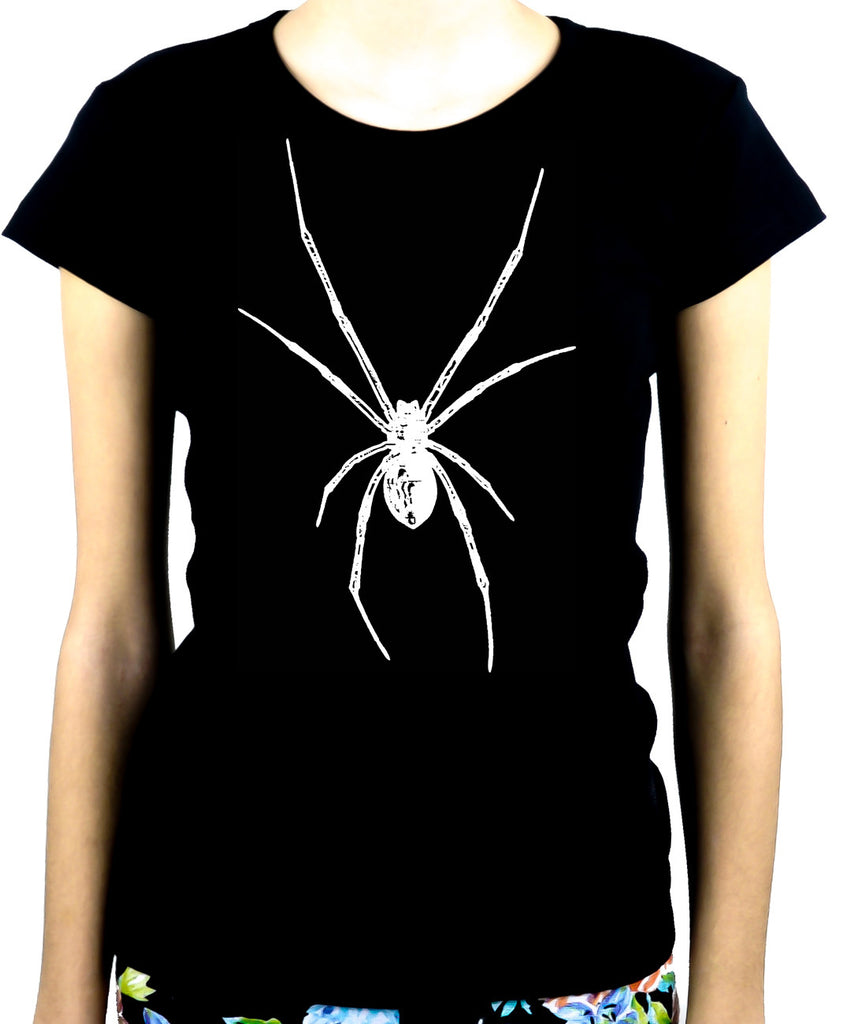 White Print Black Widow Spider Women's Babydoll Shirt