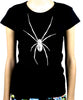 White Print Black Widow Spider Women's Babydoll Shirt Gothic Clothing