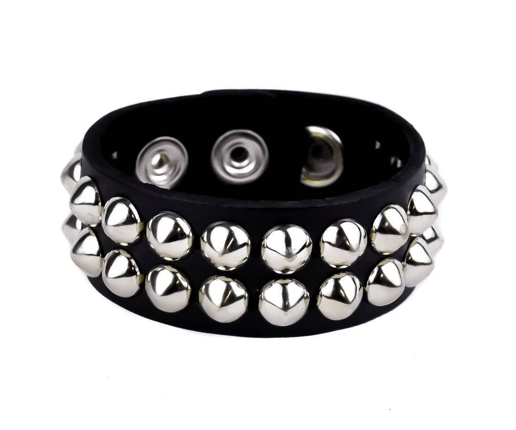 2-Row Silver Conical Stud Quality Leather Wristband Cuff Goth Metal