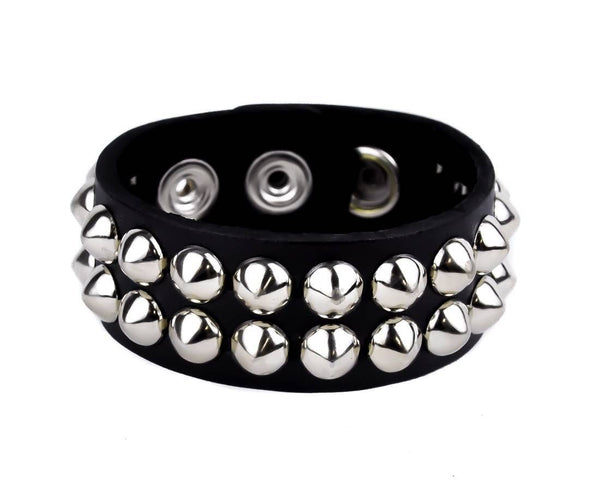 2-Row Silver Cone Stud Quality Leather Wristband Cuff Goth Metal