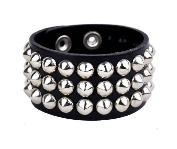 3-Row Silver Cone Stud Quality Leather Wristband Cuff Goth Metal