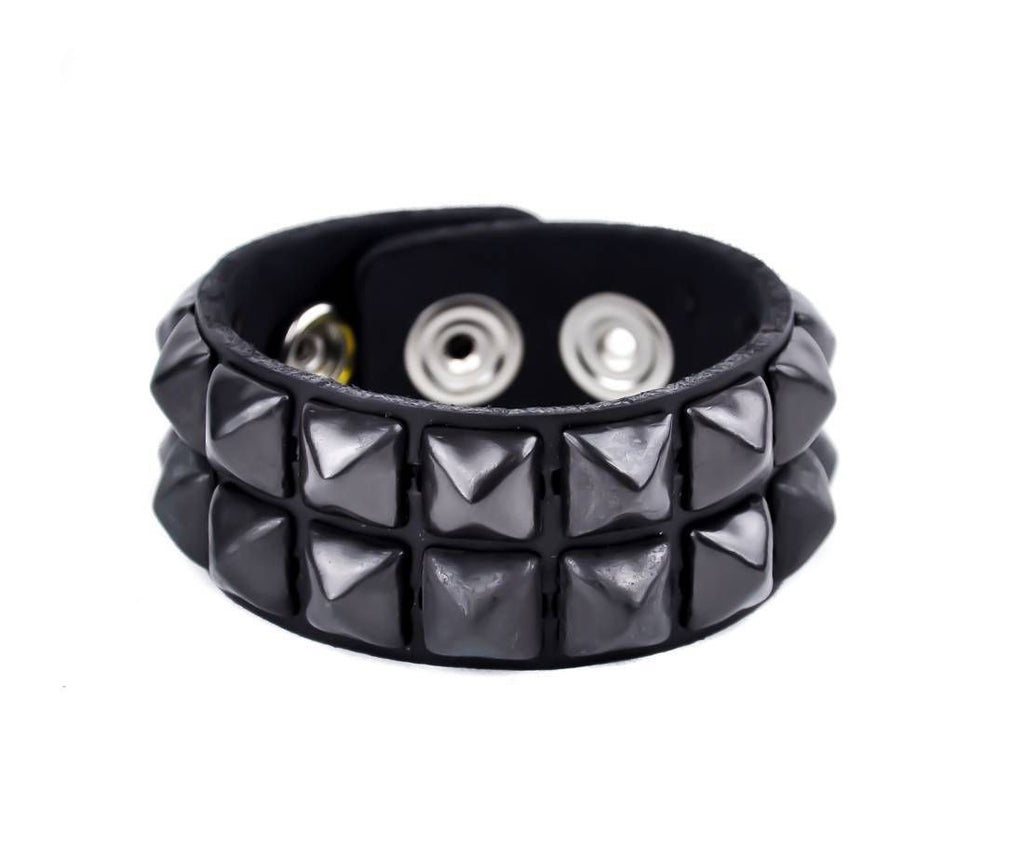 2-Row Black Pyramid Stud Quality Leather Wristband Bracelet