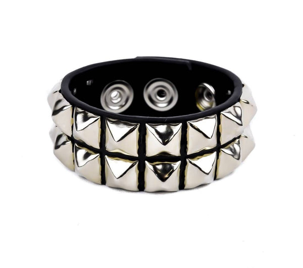 2-Row Silver Pyramid Stud Quality Leather Wristband Bracelet