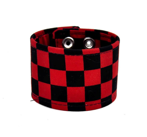 "Black & Red Checkered Canvas Fabric Wristband Bracelet Cuff Vegan Friendly 2"" Wide"