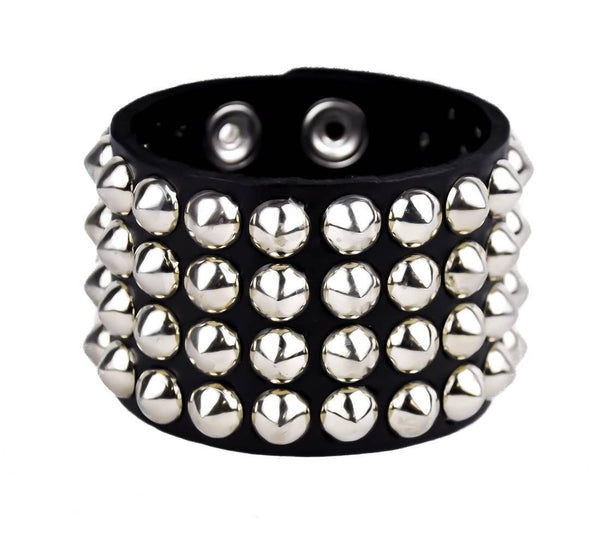 4-Row Silver Cone Stud Quality Leather Wristband Cuff Goth Metal