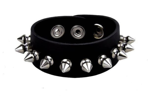 "Silver 1/2"" Spikes Black Leather Wristband Bracelet Cuff 1-1/2"" Wide"