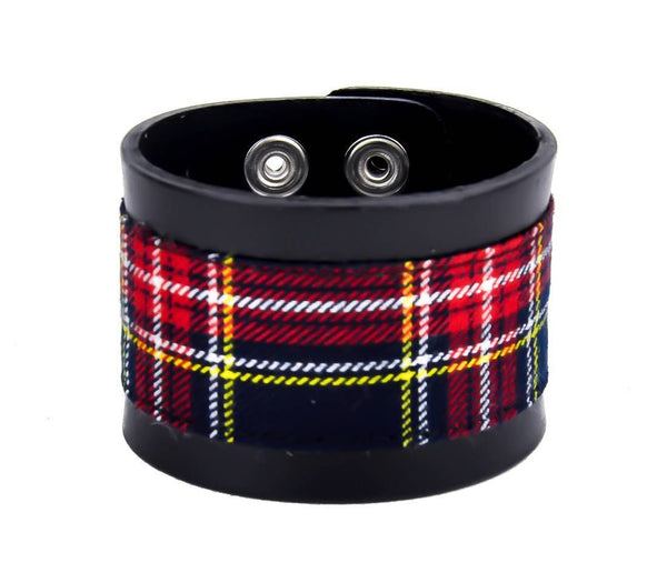 "Blue Plaid Black Leather Quality Wristband Cuff Bracelet 2"" Wide"