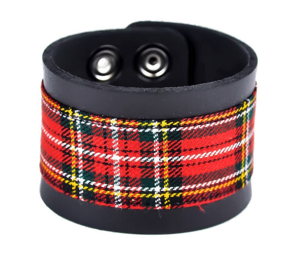 "Red Plaid Black Leather Quality Wristband Cuff Bracelet 2"" Wide"