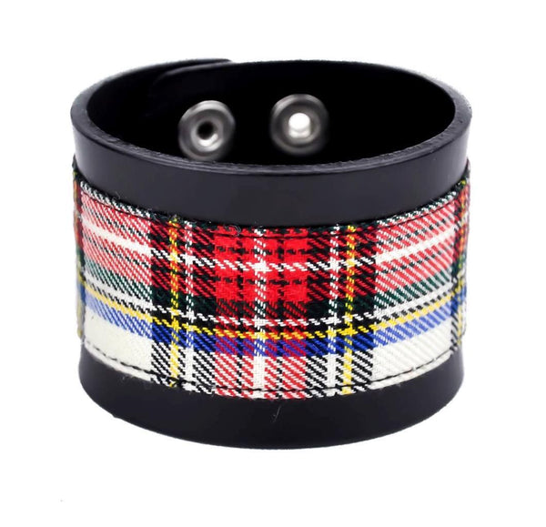 "White Plaid Black Leather Quality Wristband Cuff Bracelet 2"" Wide"