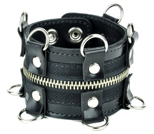 D Rings with Zipper Wristband Leather Bracelet