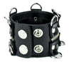"D Rings with Zipper Wristband Leather Bracelet 2"" Wide"