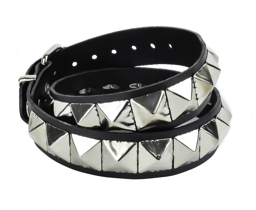 "Huge Silver 1"" Pyramid Studs Black Leather Belt 1-1/2"" Wide"
