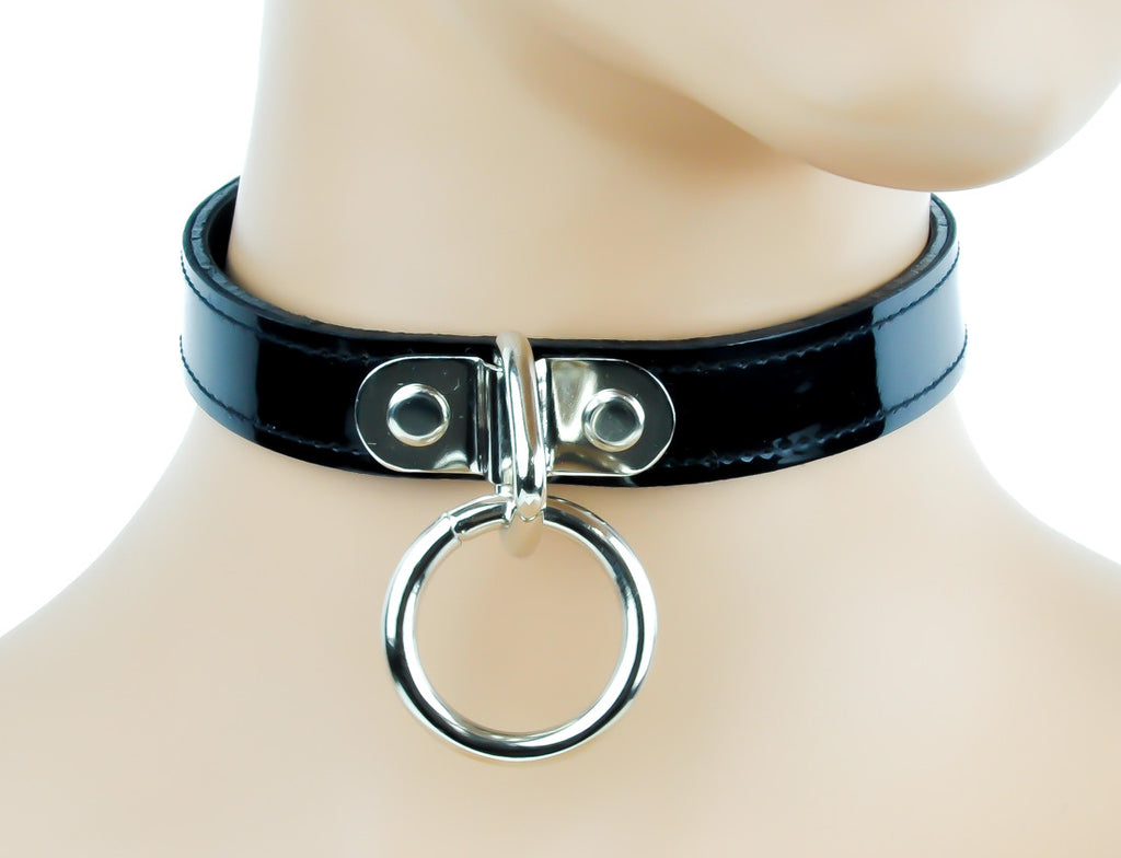 "Quality Black Patent PVC Choker With 1"" Ring"