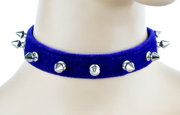"Blue Velvet Choker Necklace with 1/2"" Silver Spikes Gothic Collar"