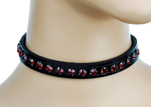 Red Rhinestone on Black Patent Leather Choker Collar Burlesque