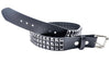 "Black 3-Row Pyramid Stud Belt Quality Leather 1-3/4"" Wide"