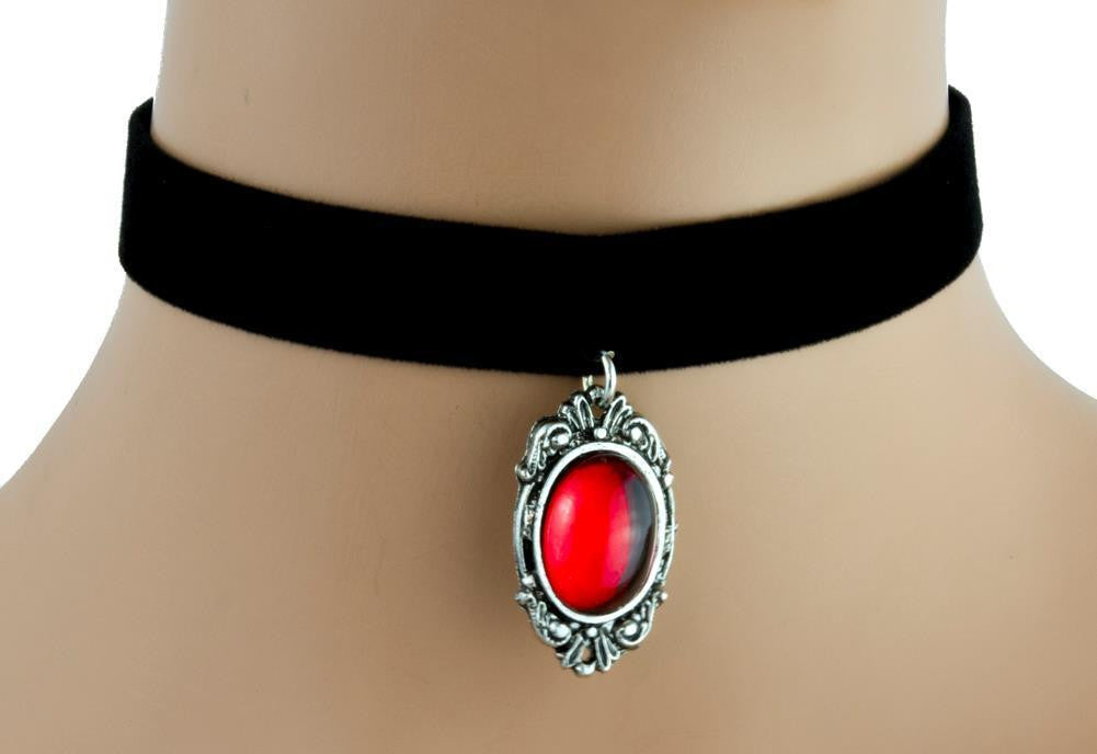 Red Stone Gothic Victorian Velvet Choker Necklace Alternative Jewelry