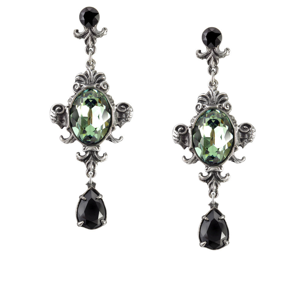 Alchemy Gothic Queen of the Night Green & Black Teardrop Earrings
