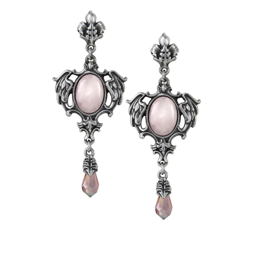 Alchemy Gothic Pink Seraph of Light Wings Earrings