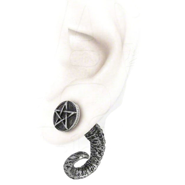 Alchemy Gothic Magic Ram's Horn Pentagram Earring