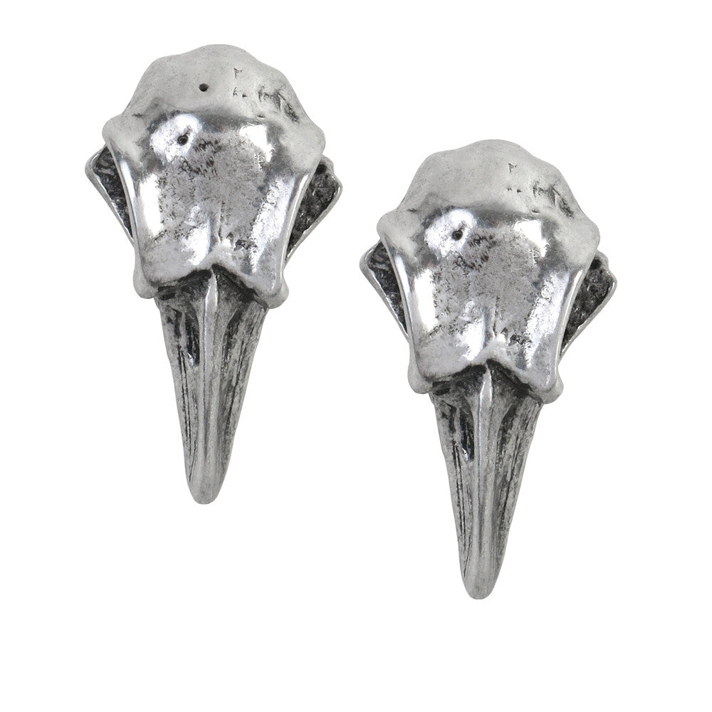 Alchemy Gothic Rabeschadel Raven Crow Skull Earrings