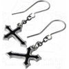 Alchemy Gothic Sorrow Black Cross Earrings Vampire