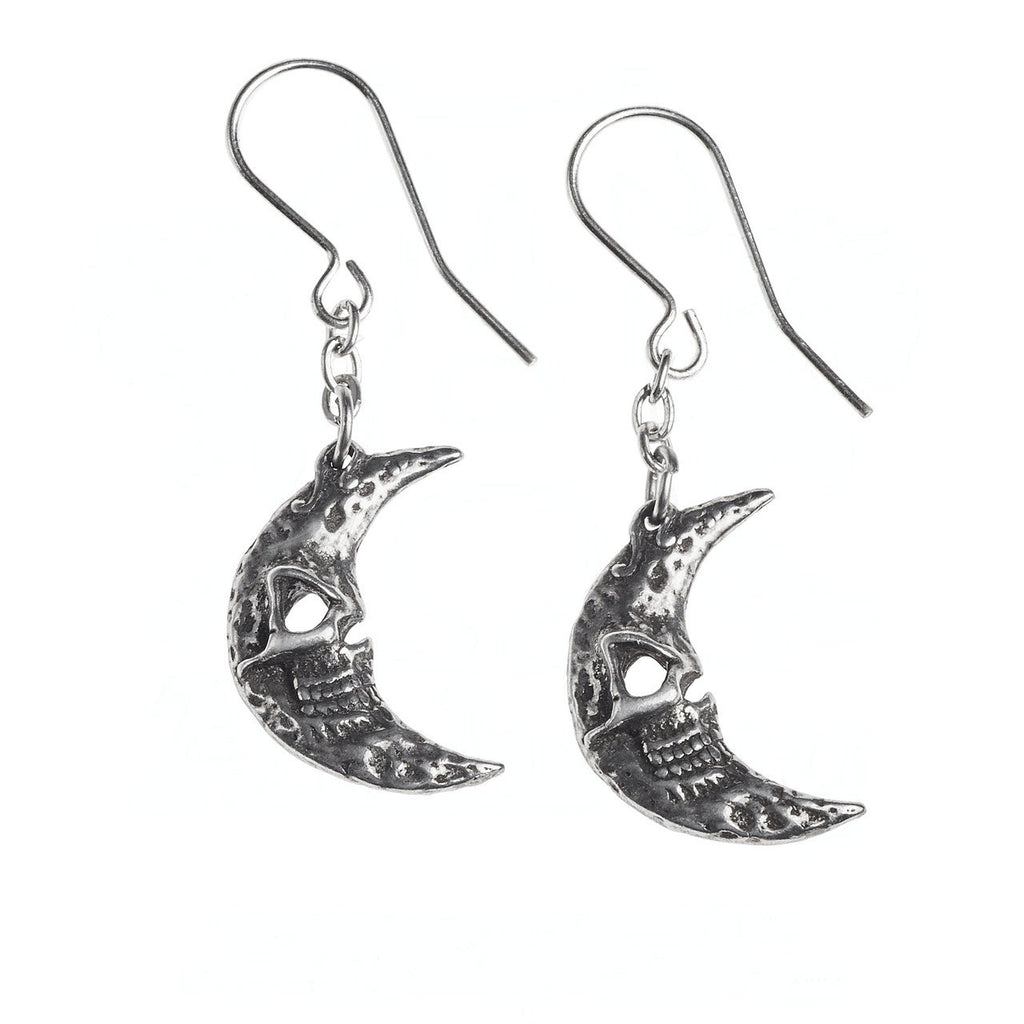 Alchemy Gothic Crescens Tragicom Cescent Moon Earrings