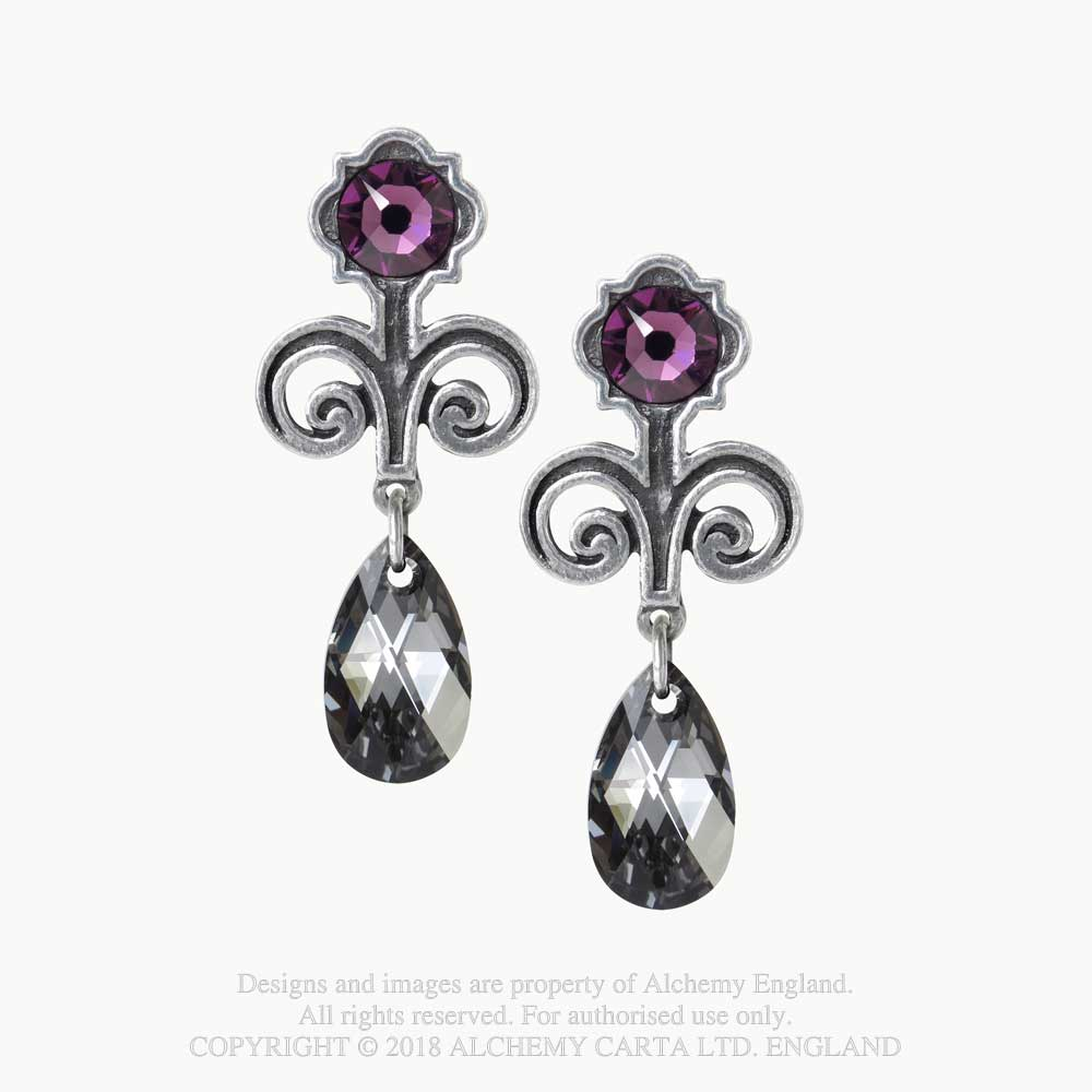 Alchemy Gothic Purple Regiis Martyris Teardrop Earrings