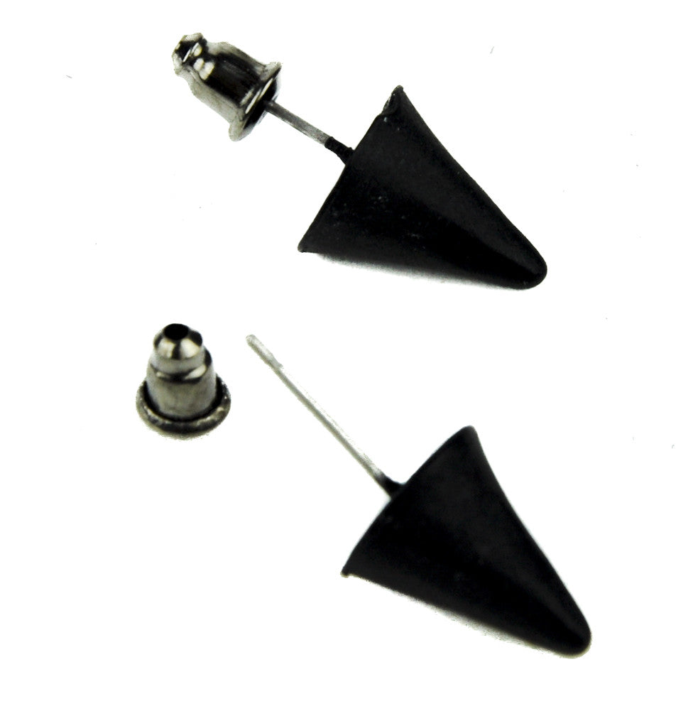 Black Metal Spike Earrings Gothic Jewelry