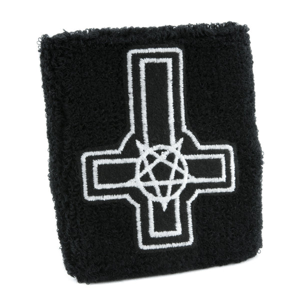 Cross Pentagram Wristband Death Metal Occult Heavy Sweatband
