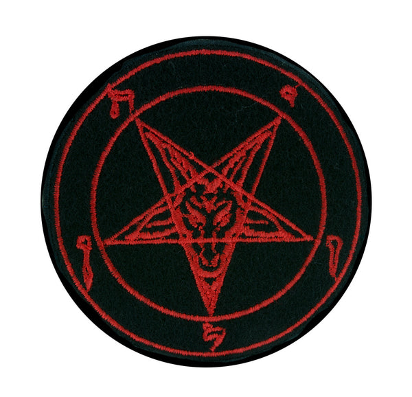 Classic Red Baphomet Pentagram Patch Iron on Applique Occult Clothing