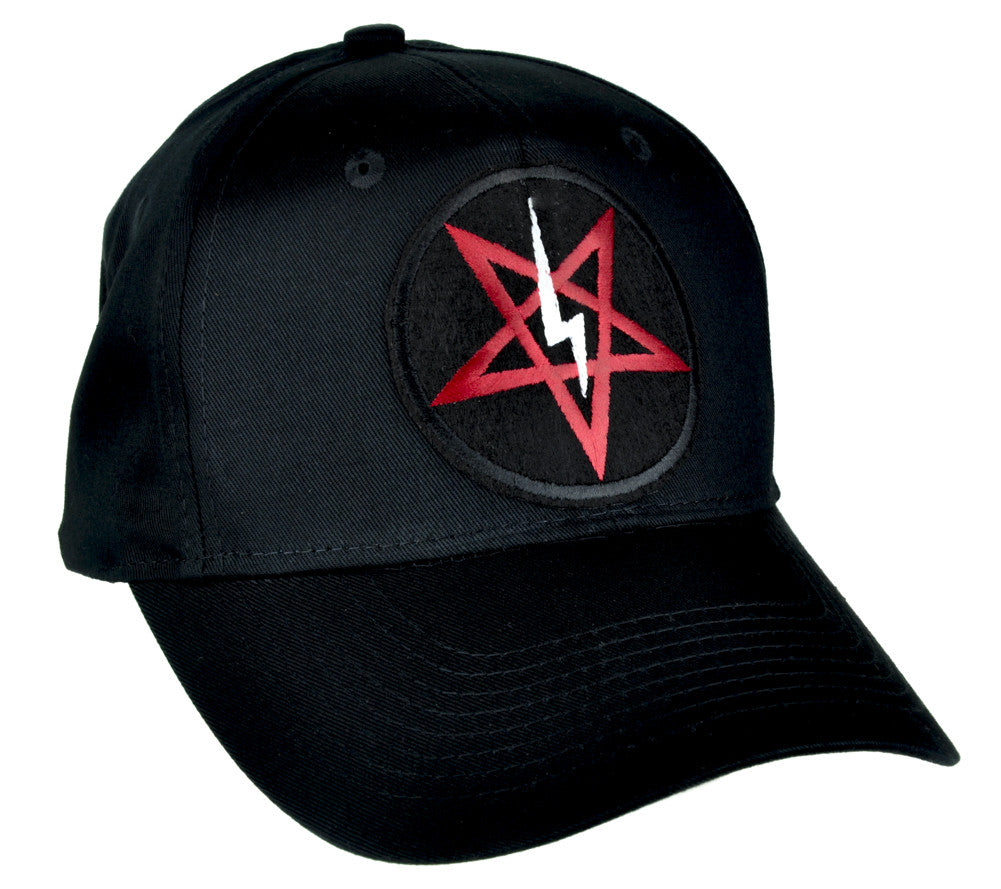 Satanic Symbol Lightning Bolt Pentagram Hat Baseball Cap Occult Clothing