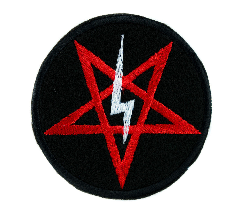 Satanic Symbol Lightning Bolt Pentagram Iron on Applique Patch Alternative DIY Clothing Horror