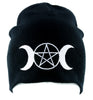 Triple Goddess Wicca Pentagram Beanie Knit Cap Pagan Clothing Three Moon Witchcraft