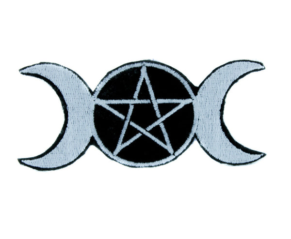 Triple Goddess Moon Wicca Pentagram Patch Iron on Applique Clothing Witchcraft