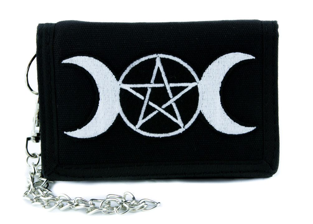 Triple Goddess Wicca Pentagram Tri-fold Wallet w/ Chain Pagan Clothing Witchcraft Three Moon