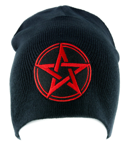 Red Wiccan Pentagram Beanie Knit Cap Pagan Clothing Witchcraft Mother Earth
